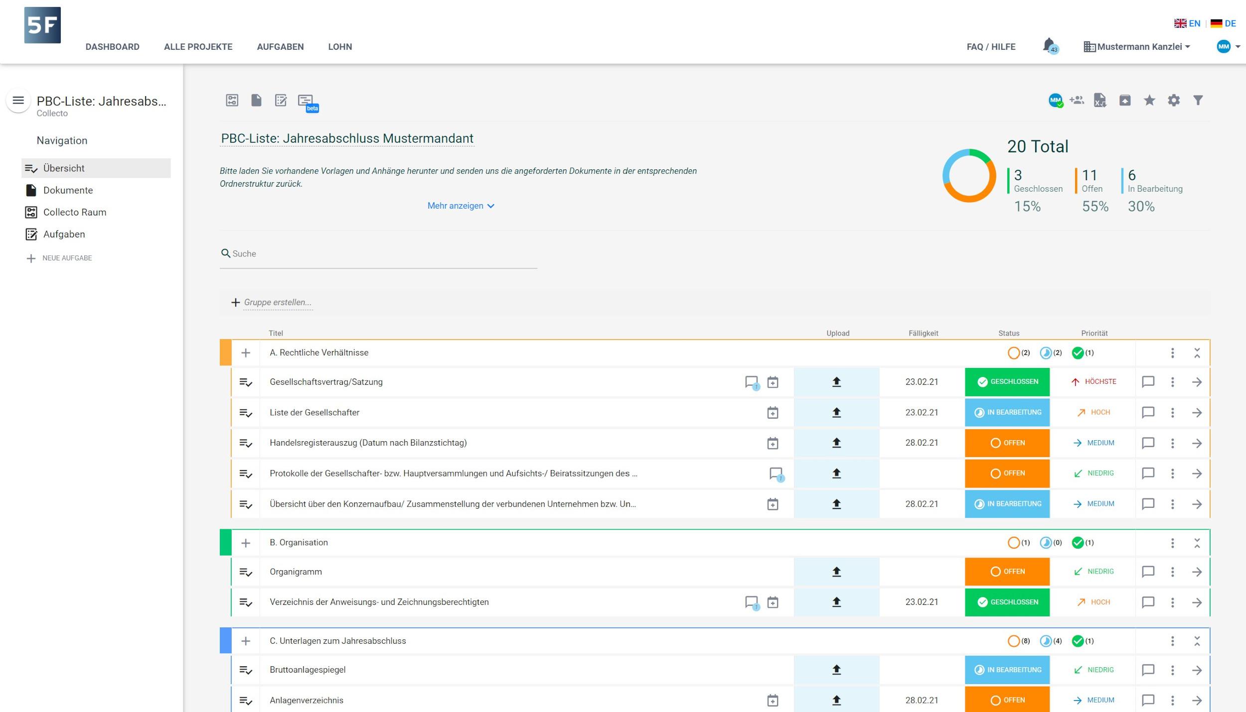 PBC Liste System Screenshot